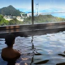 お風呂から見える瀬戸大橋