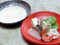 真鱈と白子の豆乳湯葉鍋