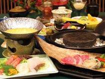 タラバ蟹のウニしゃぶと高級和牛の石焼「楓流」