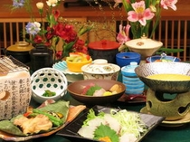 旬魚のウニしゃぶと会津地鶏の朴葉焼「せせらぎ」