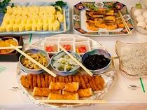 和食・洋食どちらもOK バイキングスタイルの朝食です