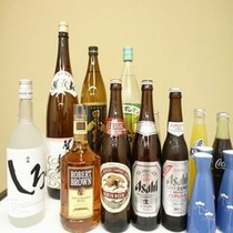 ビール、酒、焼酎、ウィスキー、ソフトドリンクがお楽しみいただける飲み放題プランのイメージ(2時間)