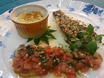 (魚料理一例)ニジマスの2種ソース、ラザニアと