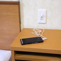 USBコンセント☆ベッドサイドでUSB充電ができます。スマホやタブレットに大活躍!