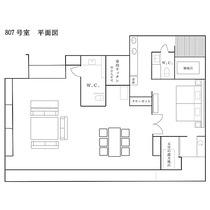 最上階ロイヤルスイート◆客室平面図/122.5平米の贅沢な作り。気品溢れる広々とした空間でございます