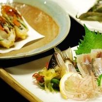 鮎料理(魚コース)一例