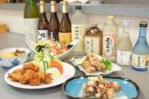 夕食 お酒と料理