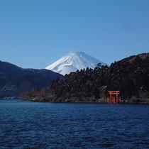 冬の芦ノ湖と富士山