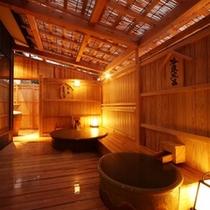 ライトアップの五右衛門風呂