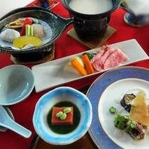 和牛シチュー鍋・海鮮焼き・トマト豆腐・蛸のポテトサーモン巻き