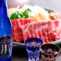 但馬牛だんじり焼にスパークリング日本酒「月うさぎ」サービス