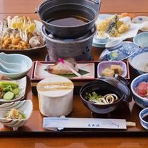 きのこ鍋の夕食(一例)