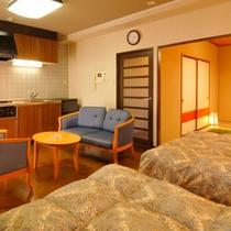 ベッドと和室とリビングの和洋室