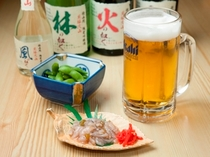 お夜食処・粋酔/冷えた生ビールとおつまみセット