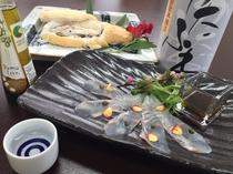 春の地酒の宿プラン(白身魚カルパッチョ・桜鯛塩釜焼き他)