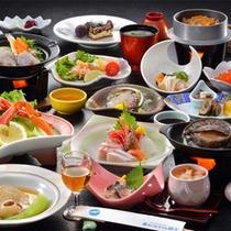 【夕食料理(冬)】鮑ふかひれプランの一例(約13品)