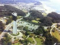 いわきマリンタワー (上空より)