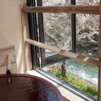 半露天風呂付客室【赤支子】陶器風呂と桜