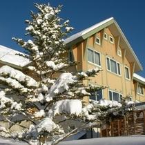 滝からのホテルの眺め 雪