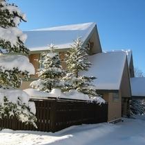 冬のホテルの横顔