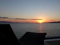 天空から見る夕日