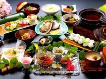 相生産岩牡蠣と夏野菜の彩り会席一例