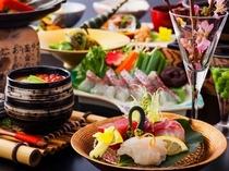 桜鯛と春野菜の会席・全体(ご昼食)