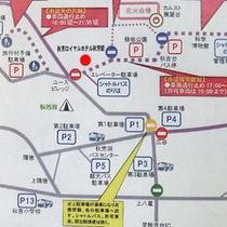 花火大会当日の交通規制MAPです。早めのチェックインをお願い致します。