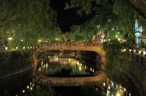 温泉街の夜景