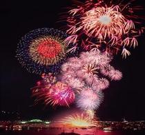 広島の夜空にさく花火 広島みなと夢花火の様子②