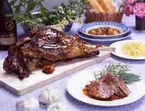 コニャックで煮込んだ仔羊のもも肉