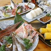 旬の魚介の炭火焼バーベキュー各種プランでお楽しみ下さい。