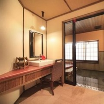 【貸切風呂/火山】スタイリッシュな貸切風呂には、脱衣所に液晶テレビを完備しております。