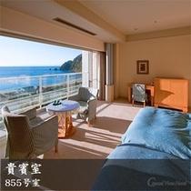 855号室 ブルーを基調とした地中海風のツインルーム(856号室の和室とコネクト)