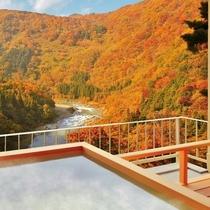 秋~露天風呂付客室(和洋室)からの景観