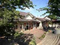 湯田中駅、かえで広場。大きな足湯(無料)、温泉銭湯(1人、300円)があります。