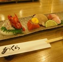 2階和食処「あくら」にて 新鮮お造り