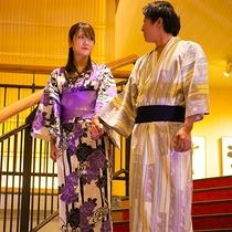 """【カップルプラン】二人で""""色浴衣""""に着替えていつもとは違う雰囲気♪"""