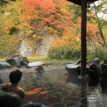 ☆露天風呂から 目の前に広がる紅葉
