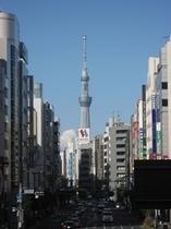 昭和通りから望むスカイツリー