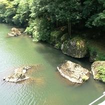 つり橋から見える大岩