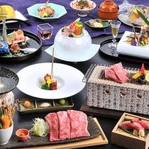 最高級グレードの会席料理12品!飛騨牛料理4種と奥飛騨の味覚をお腹いっぱいお召し上がりください。