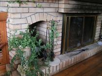 暖炉とアイビー