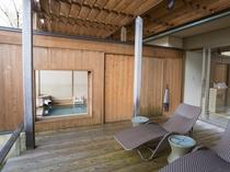 【露天風呂付:和モダン洋室261号室】丹波の山並みを前にリラックスできる開放感抜群の露天風呂付テラス