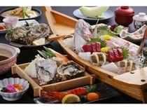 牡蠣と舟盛り