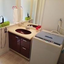 *客室一例/清潔感のある洗面台と、あると助かる洗濯機。
