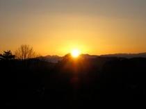槍ヶ岳に沈む夕陽