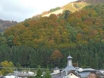 野沢温泉の山の紅葉