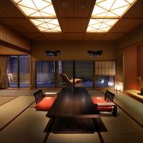 【茶寮露天風呂付客室】広々とした客室内は露天風呂付き客室ならではの落ち着きと寛ぎを感じさせる。