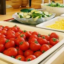 【朝食ブュッフェ】契約農家で採れた新鮮野菜が産地直送で朝食に並びます。